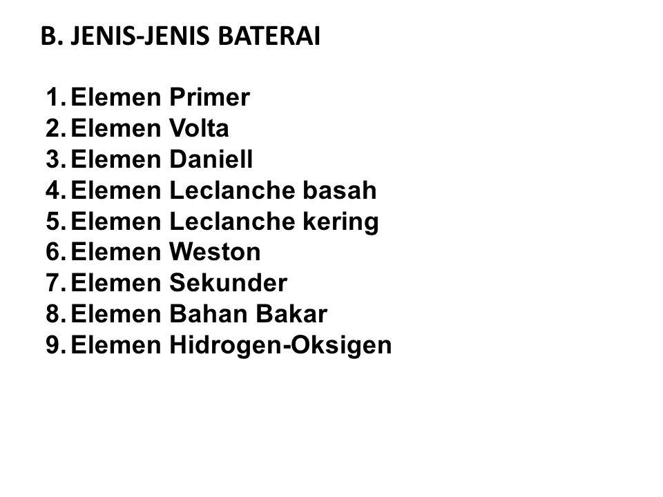 B. JENIS-JENIS BATERAI Elemen Primer Elemen Volta Elemen Daniell