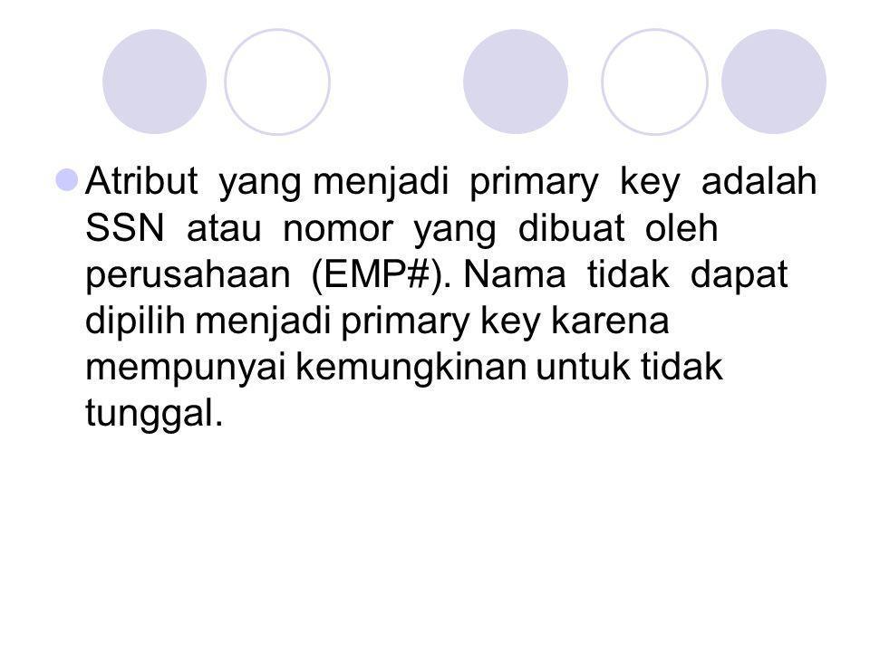 Atribut yang menjadi primary key adalah SSN atau nomor yang dibuat oleh perusahaan (EMP#).