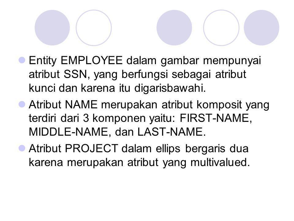 Entity EMPLOYEE dalam gambar mempunyai atribut SSN, yang berfungsi sebagai atribut kunci dan karena itu digarisbawahi.
