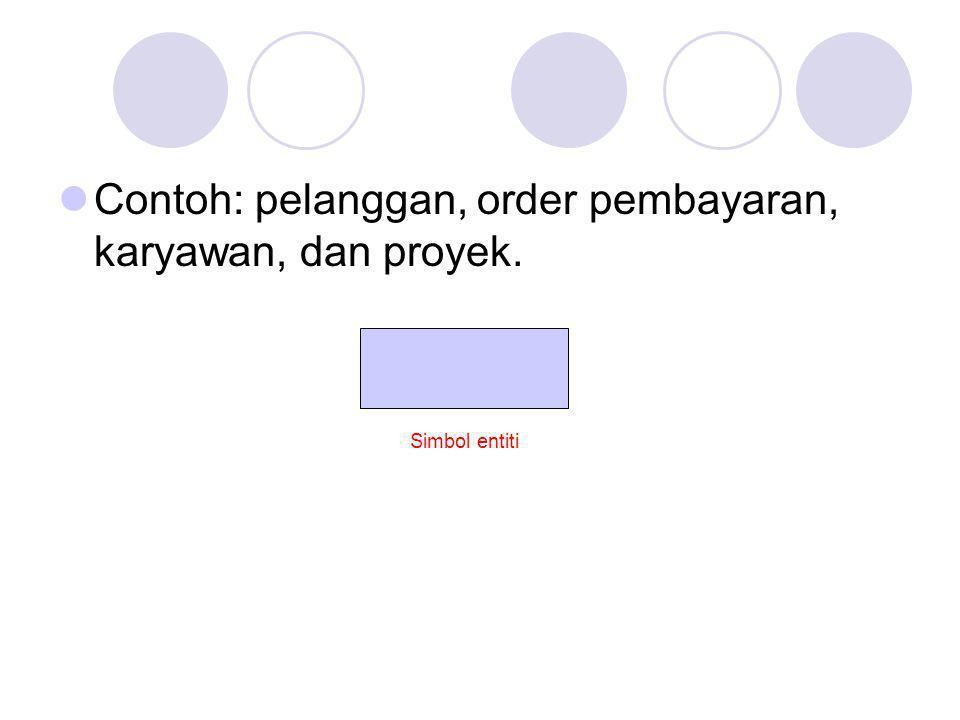 Contoh: pelanggan, order pembayaran, karyawan, dan proyek.