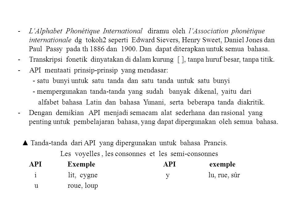 L'Alphabet Phonétique International diramu oleh l'Association phonétique internationale dg tokoh2 seperti Edward Sievers, Henry Sweet, Daniel Jones dan Paul Passy pada th 1886 dan 1900. Dan dapat diterapkan untuk semua bahasa.