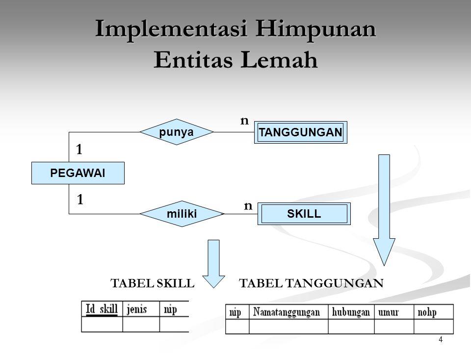 Implementasi Himpunan Entitas Lemah
