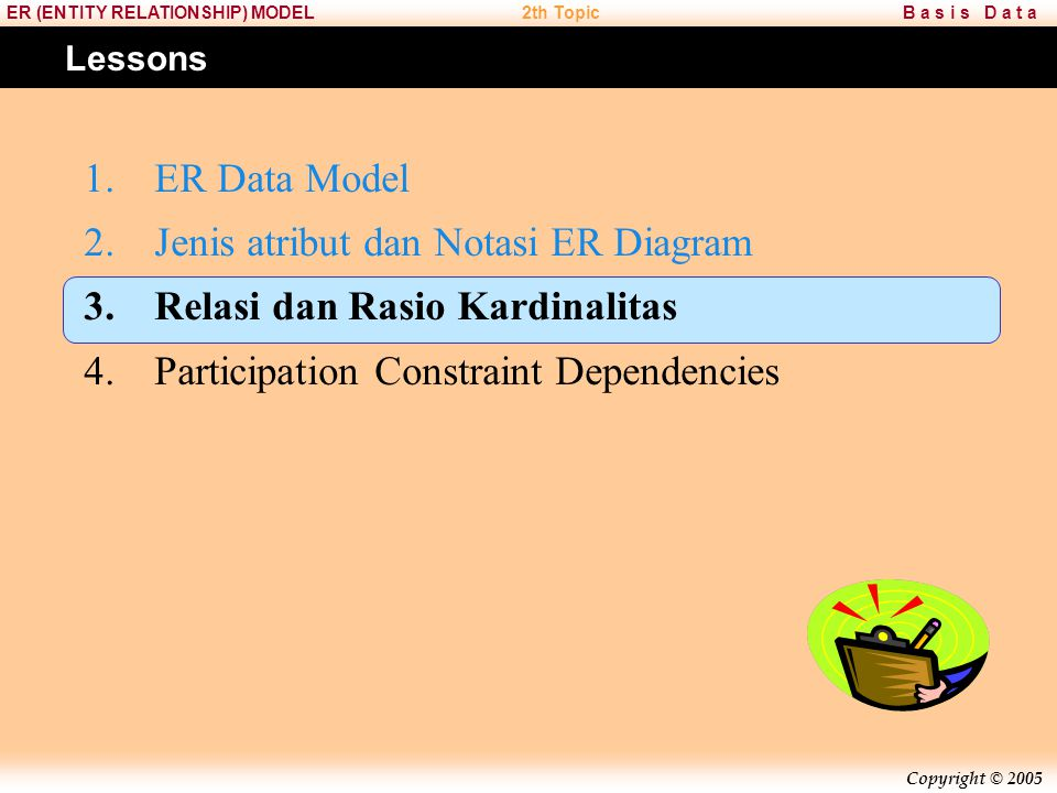 Jenis atribut dan Notasi ER Diagram Relasi dan Rasio Kardinalitas