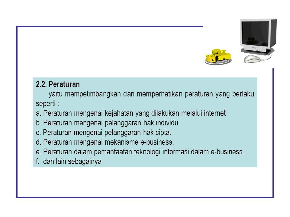 2.2. Peraturan yaitu mempetimbangkan dan memperhatikan peraturan yang berlaku seperti :