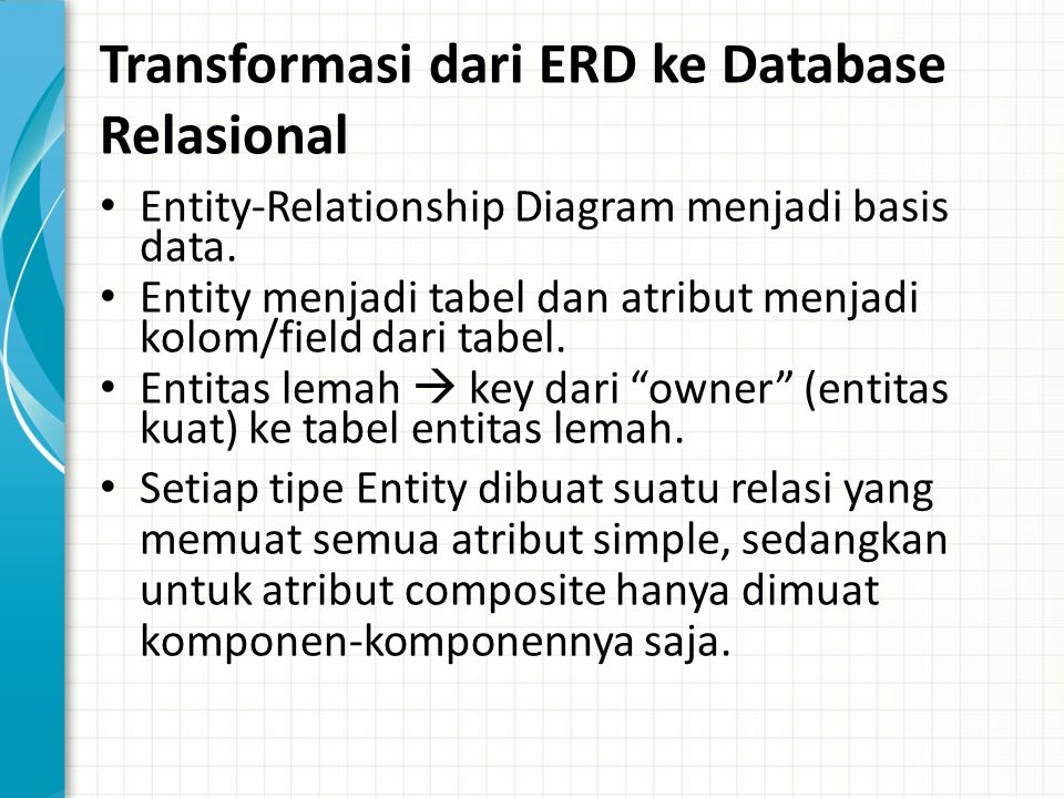 Transformasi dari ERD ke Database Relasional