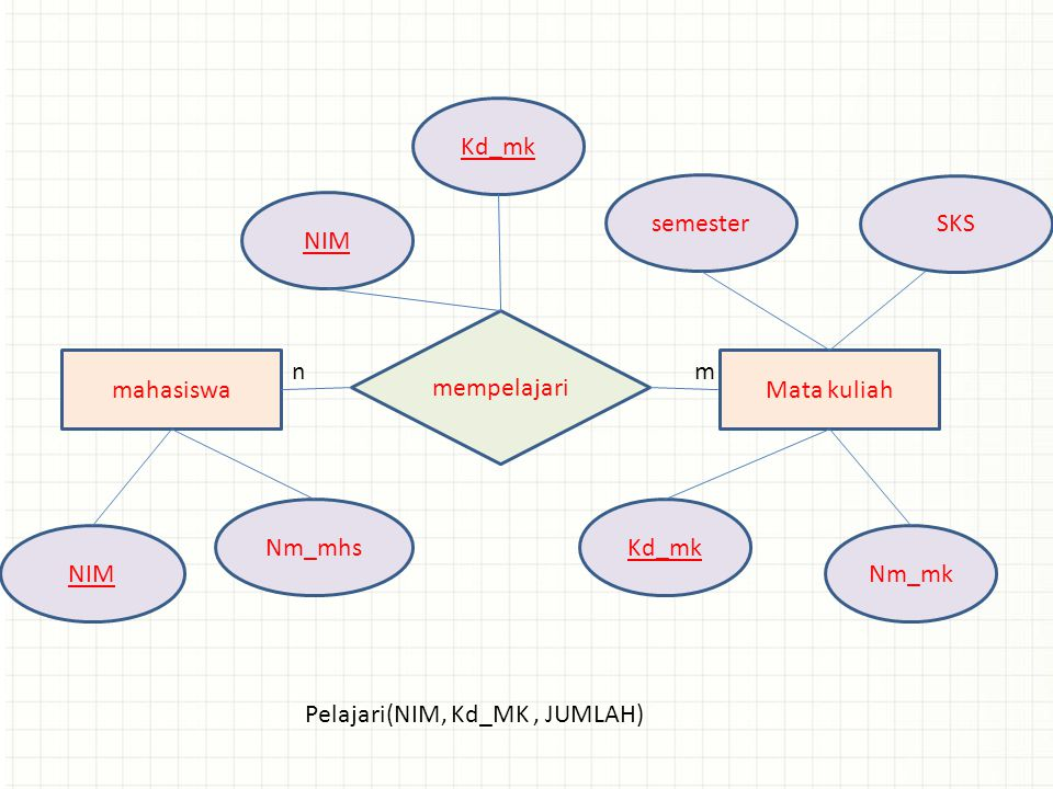 Kd_mk semester. SKS. NIM. mahasiswa. n. m. Mata kuliah. mempelajari. Nm_mhs. Kd_mk. NIM. Nm_mk.