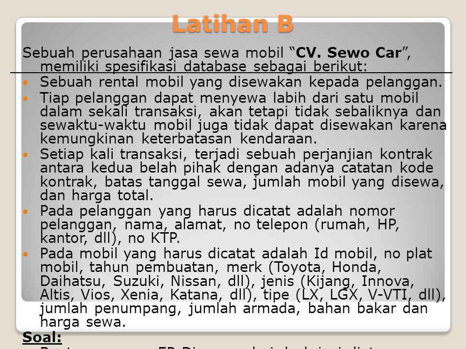 Latihan B Sebuah perusahaan jasa sewa mobil CV. Sewo Car , memiliki spesifikasi database sebagai berikut: