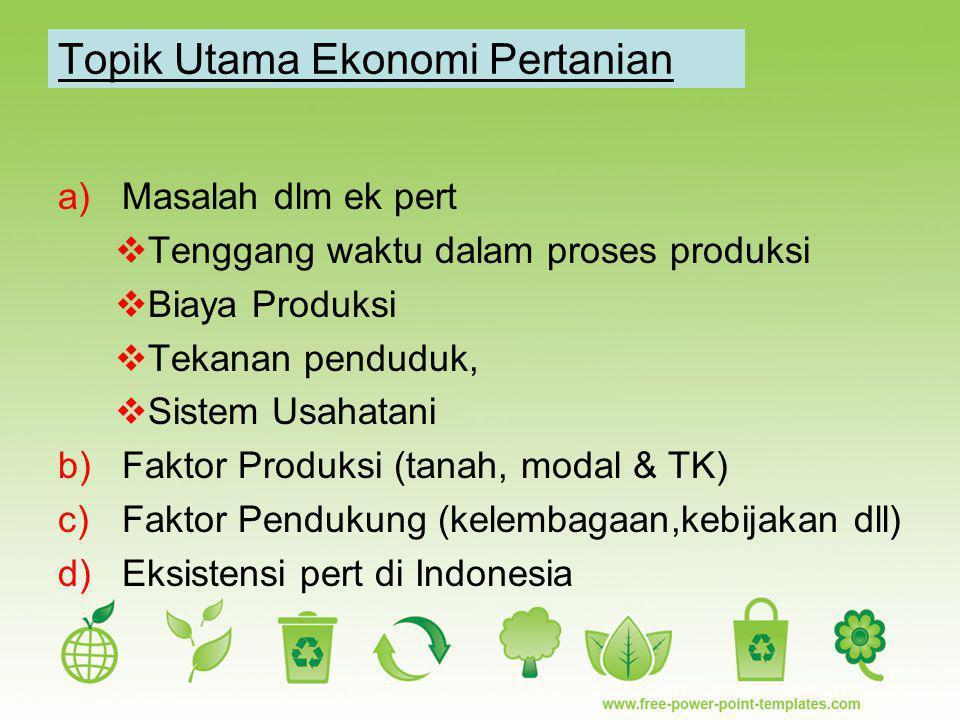 Topik Utama Ekonomi Pertanian