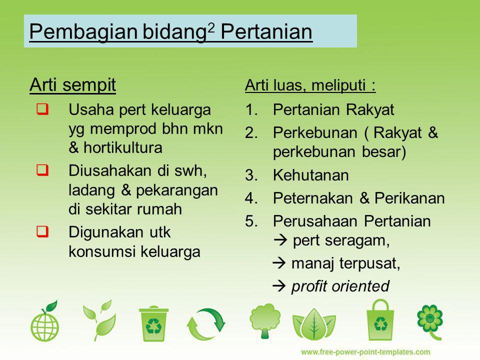 Pembagian bidang2 Pertanian