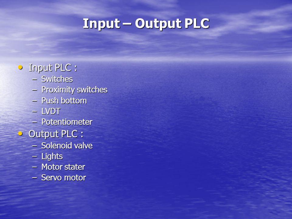 Input – Output PLC Input PLC : Output PLC : Switches