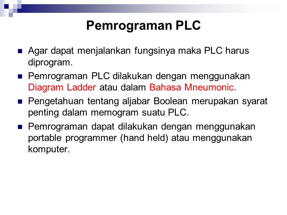 Pemrograman PLC Agar dapat menjalankan fungsinya maka PLC harus diprogram.