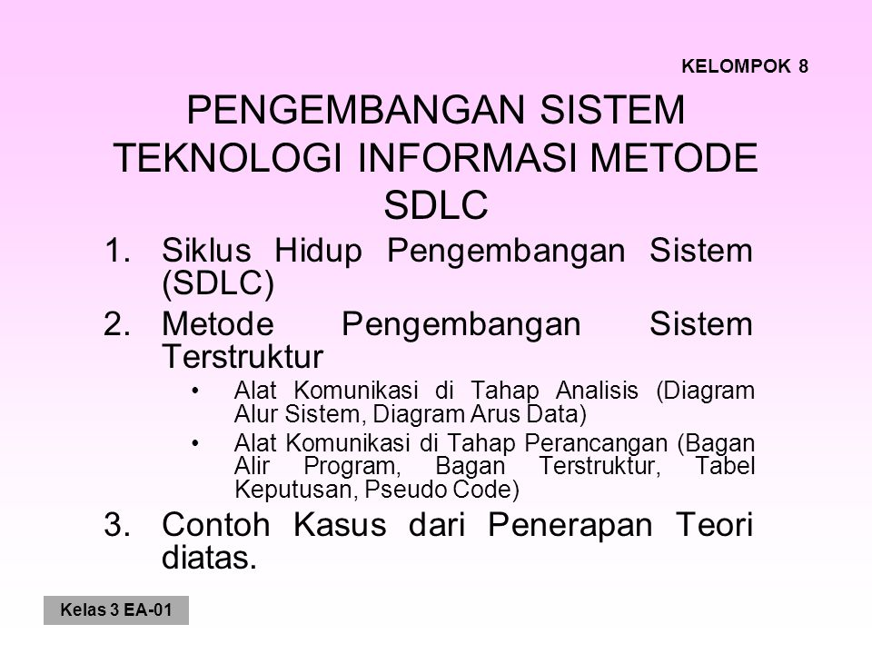 PENGEMBANGAN SISTEM TEKNOLOGI INFORMASI METODE SDLC