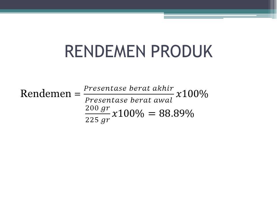 RENDEMEN PRODUK Rendemen = 𝑃𝑟𝑒𝑠𝑒𝑛𝑡𝑎𝑠𝑒 𝑏𝑒𝑟𝑎𝑡 𝑎𝑘ℎ𝑖𝑟 𝑃𝑟𝑒𝑠𝑒𝑛𝑡𝑎𝑠𝑒 𝑏𝑒𝑟𝑎𝑡 𝑎𝑤𝑎𝑙 𝑥100% 200 𝑔𝑟 225 𝑔𝑟 𝑥100%=88.89%