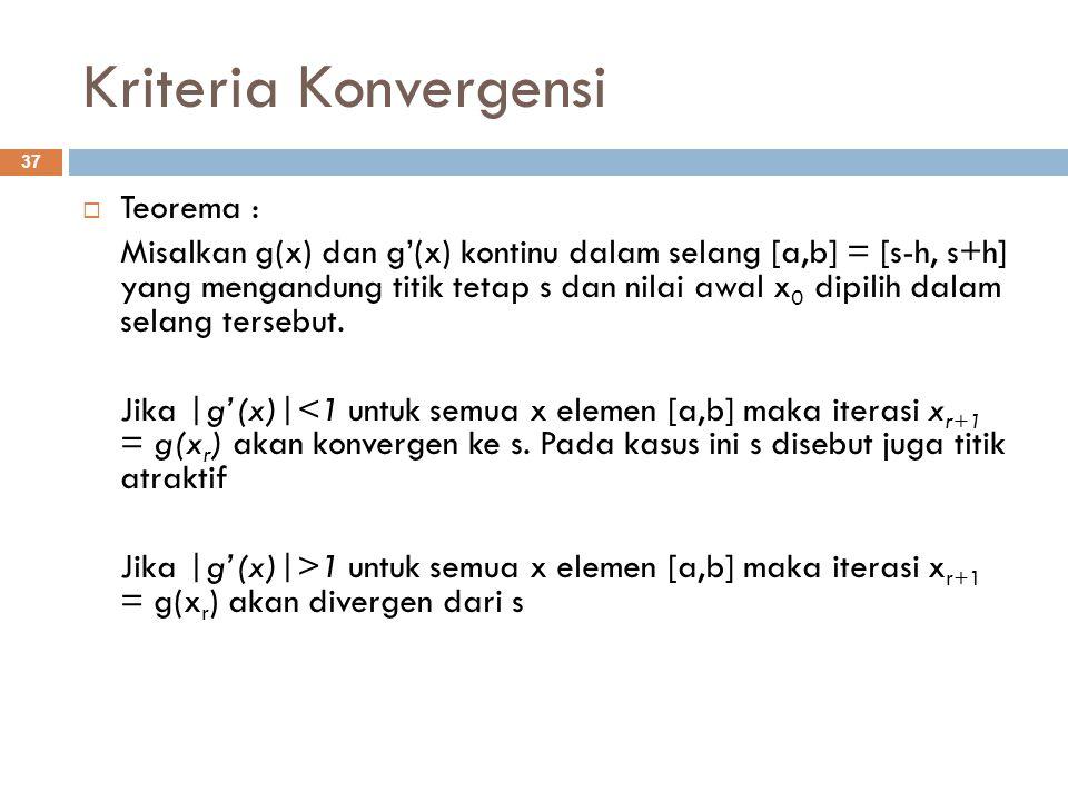 Kriteria Konvergensi Teorema :