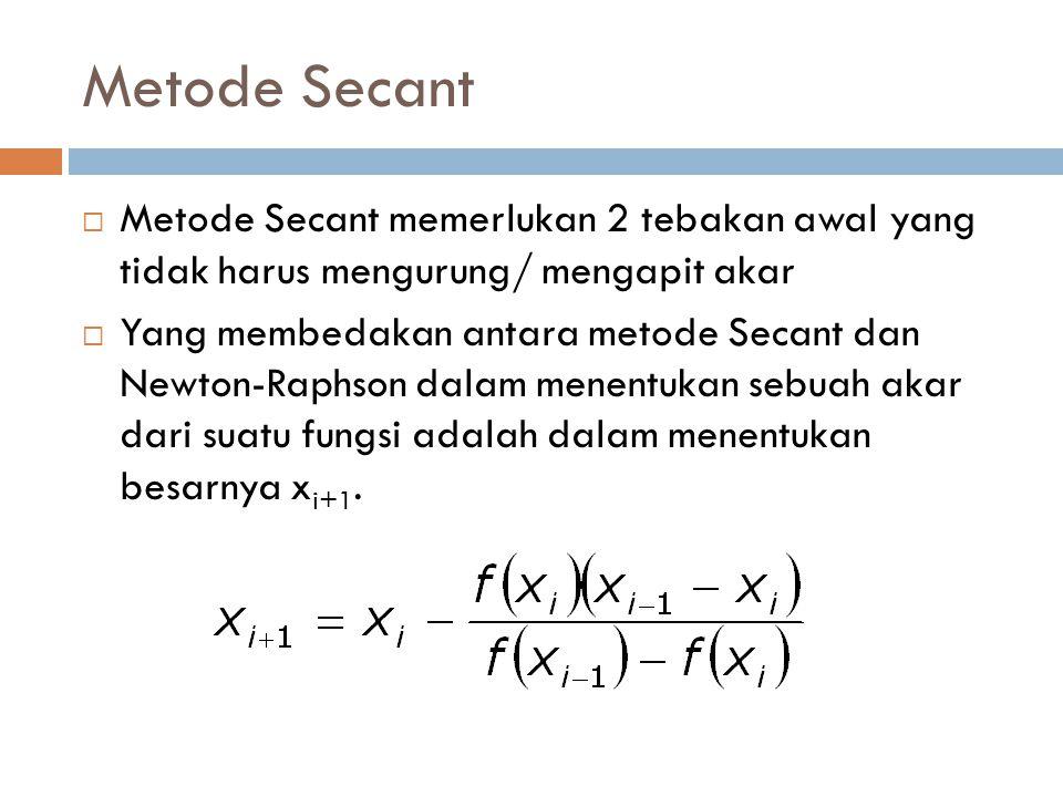 Metode Secant Metode Secant memerlukan 2 tebakan awal yang tidak harus mengurung/ mengapit akar.