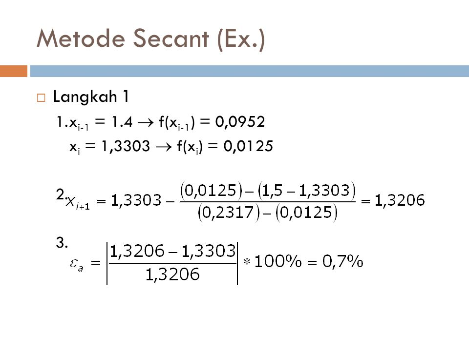 Metode Secant (Ex.) Langkah 1 1. xi-1 = 1.4  f(xi-1) = 0,0952