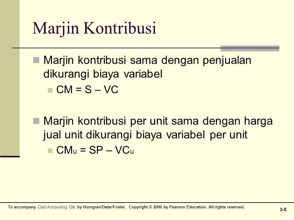 Marjin Kontribusi Marjin kontribusi sama dengan penjualan dikurangi biaya variabel. CM = S – VC.