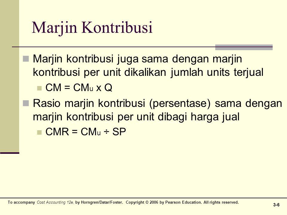 Marjin Kontribusi Marjin kontribusi juga sama dengan marjin kontribusi per unit dikalikan jumlah units terjual.