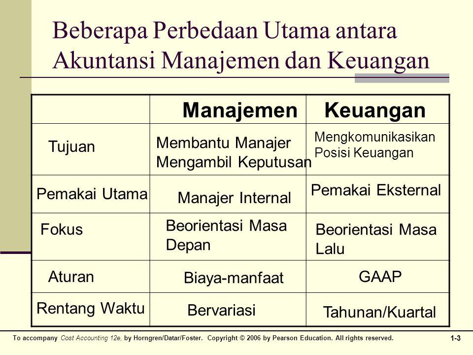 Beberapa Perbedaan Utama antara Akuntansi Manajemen dan Keuangan