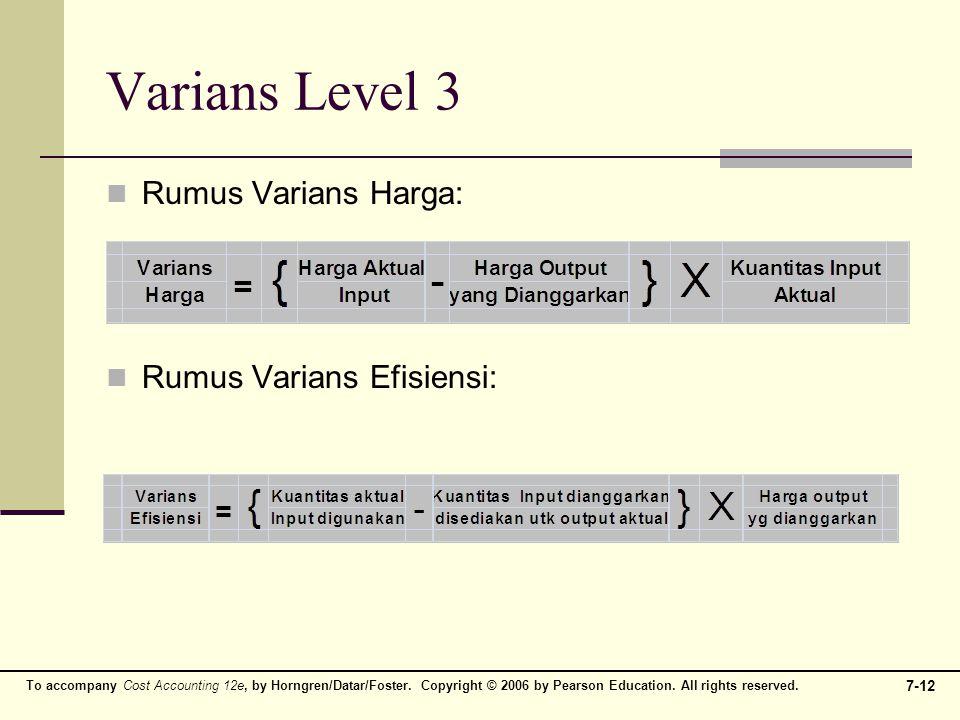 Varians Level 3 Rumus Varians Harga: Rumus Varians Efisiensi: