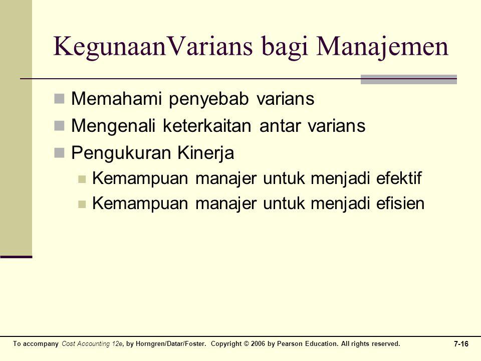KegunaanVarians bagi Manajemen