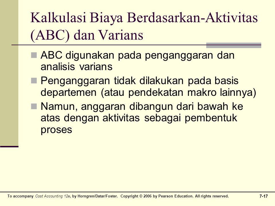 Kalkulasi Biaya Berdasarkan-Aktivitas (ABC) dan Varians