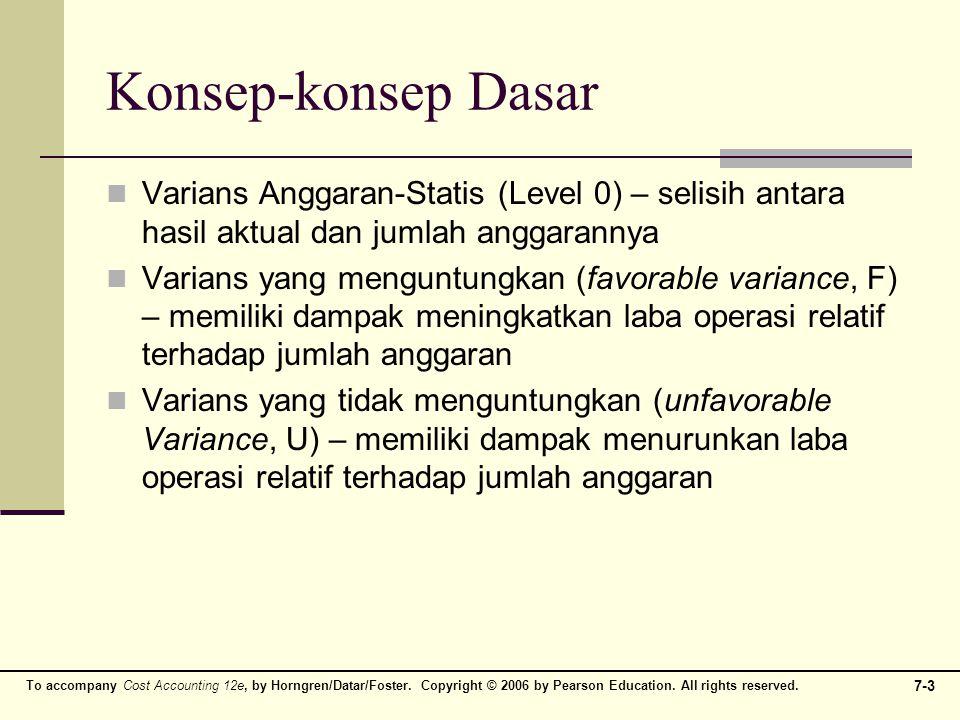 Konsep-konsep Dasar Varians Anggaran-Statis (Level 0) – selisih antara hasil aktual dan jumlah anggarannya.
