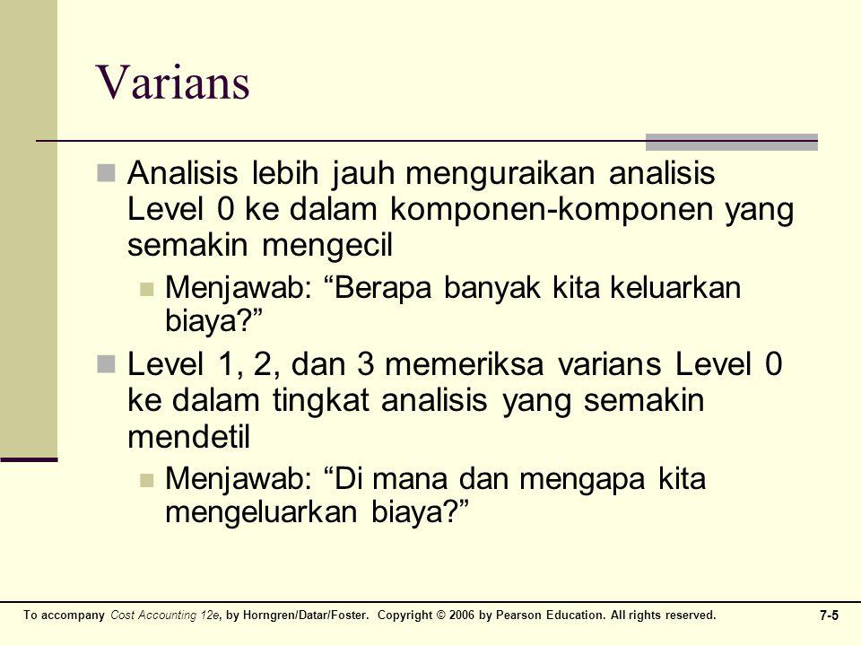 Varians Analisis lebih jauh menguraikan analisis Level 0 ke dalam komponen-komponen yang semakin mengecil.