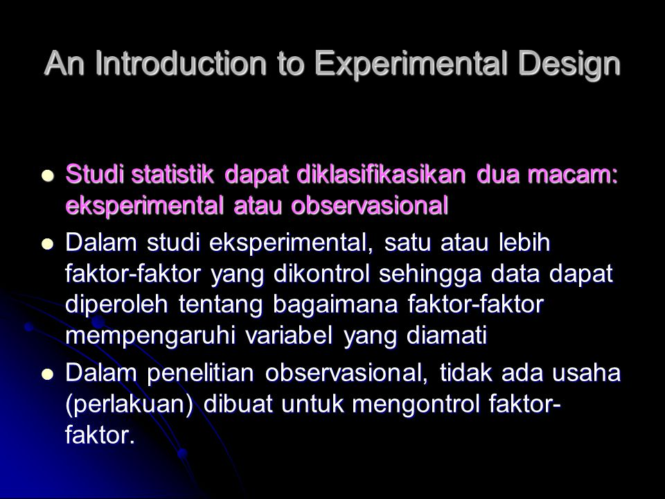 An Introduction to Experimental Design