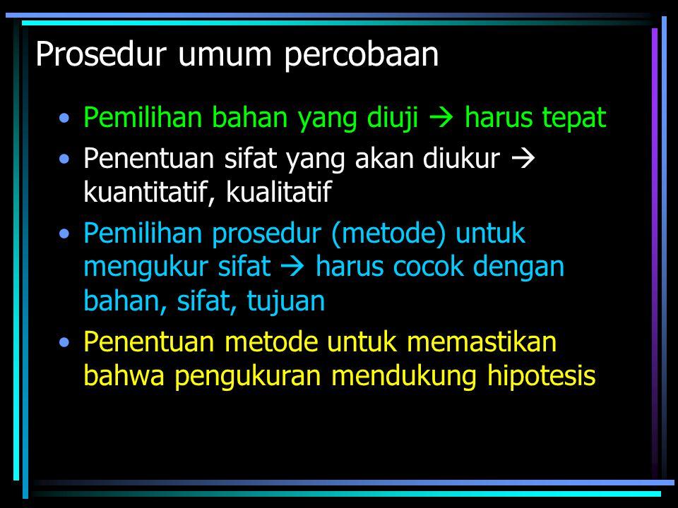 Prosedur umum percobaan
