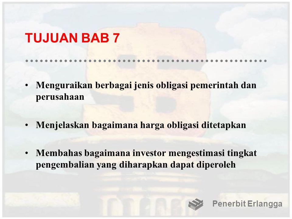 TUJUAN BAB 7 Menguraikan berbagai jenis obligasi pemerintah dan perusahaan. Menjelaskan bagaimana harga obligasi ditetapkan.