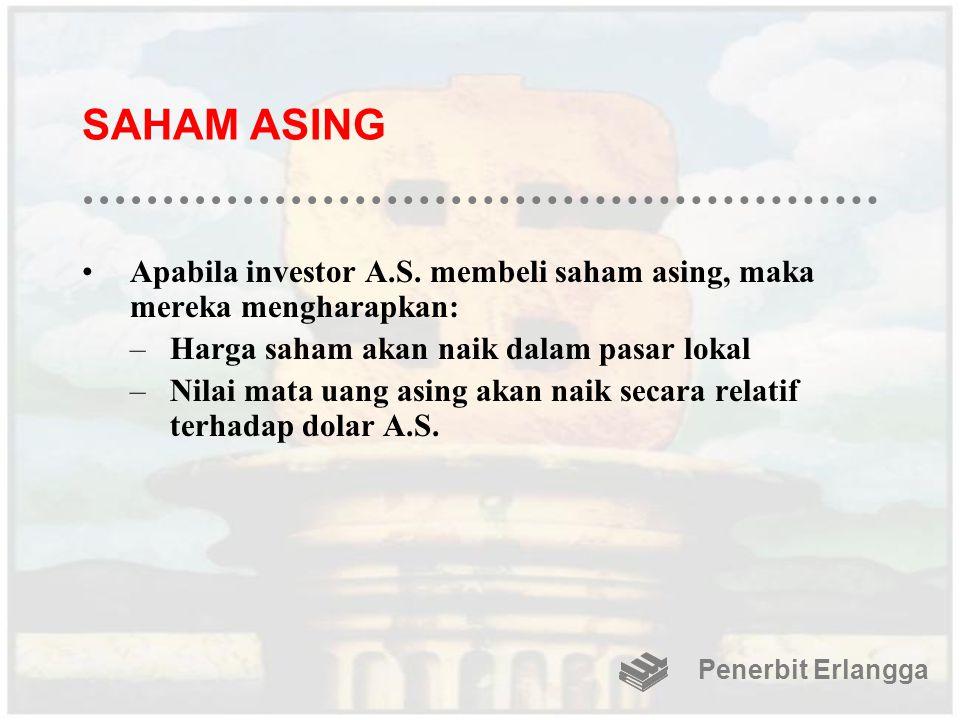 SAHAM ASING Apabila investor A.S. membeli saham asing, maka mereka mengharapkan: Harga saham akan naik dalam pasar lokal.