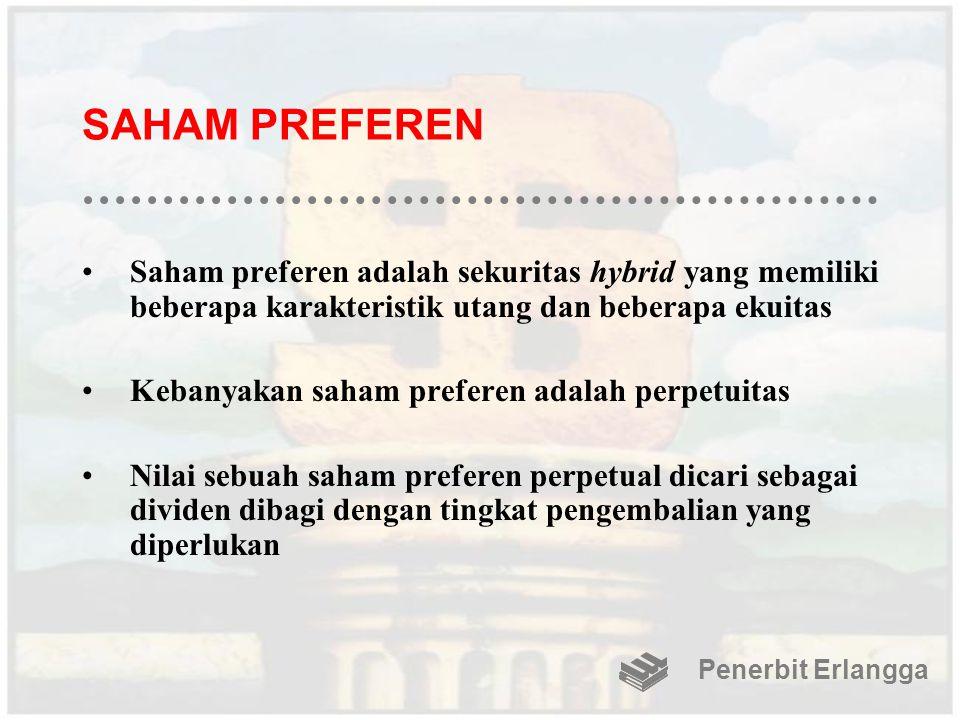 SAHAM PREFEREN Saham preferen adalah sekuritas hybrid yang memiliki beberapa karakteristik utang dan beberapa ekuitas.