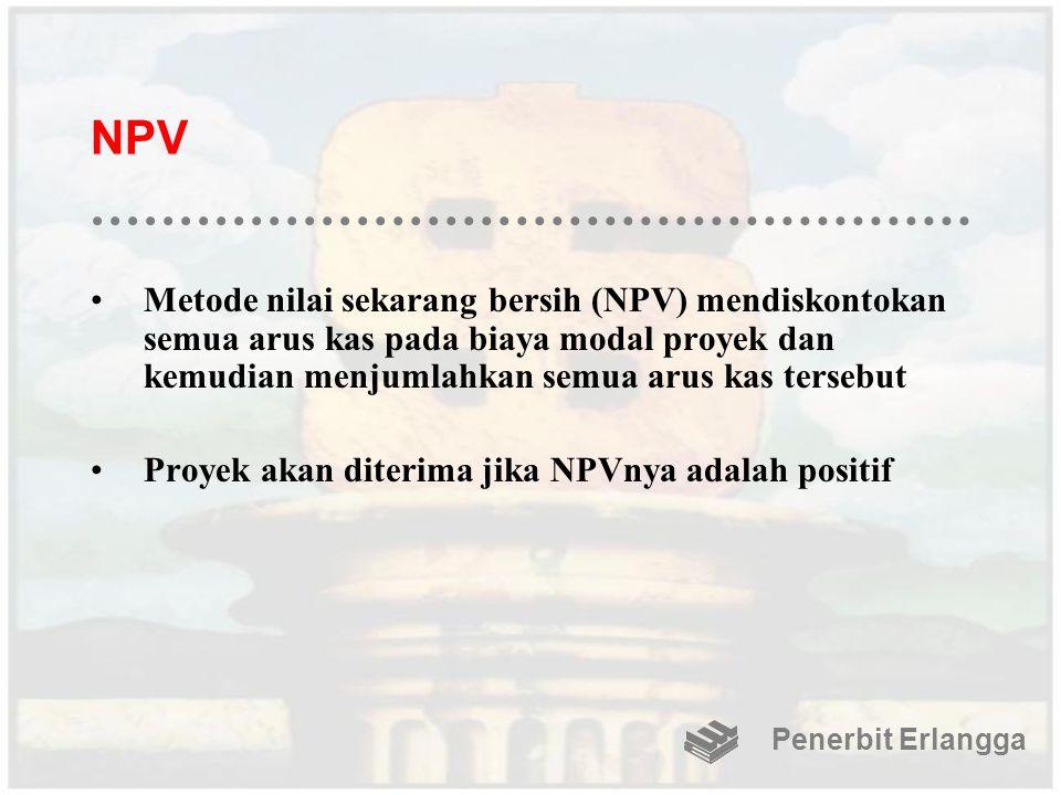 NPV Metode nilai sekarang bersih (NPV) mendiskontokan semua arus kas pada biaya modal proyek dan kemudian menjumlahkan semua arus kas tersebut.