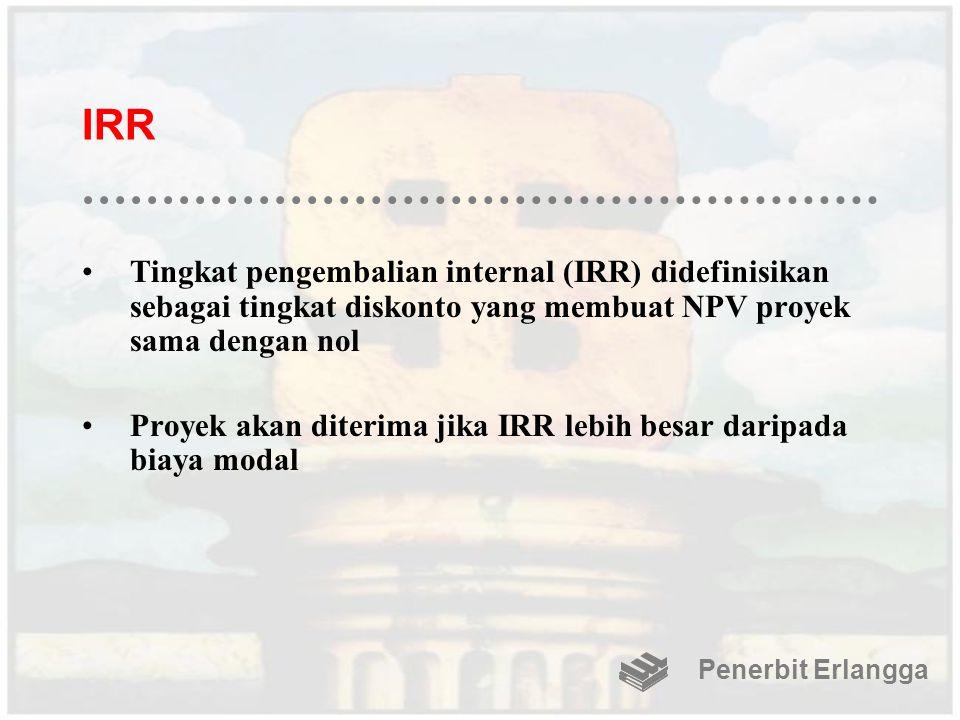 IRR Tingkat pengembalian internal (IRR) didefinisikan sebagai tingkat diskonto yang membuat NPV proyek sama dengan nol.