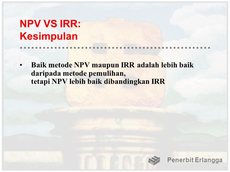 NPV VS IRR: Kesimpulan Baik metode NPV maupun IRR adalah lebih baik daripada metode pemulihan, tetapi NPV lebih baik dibandingkan IRR.