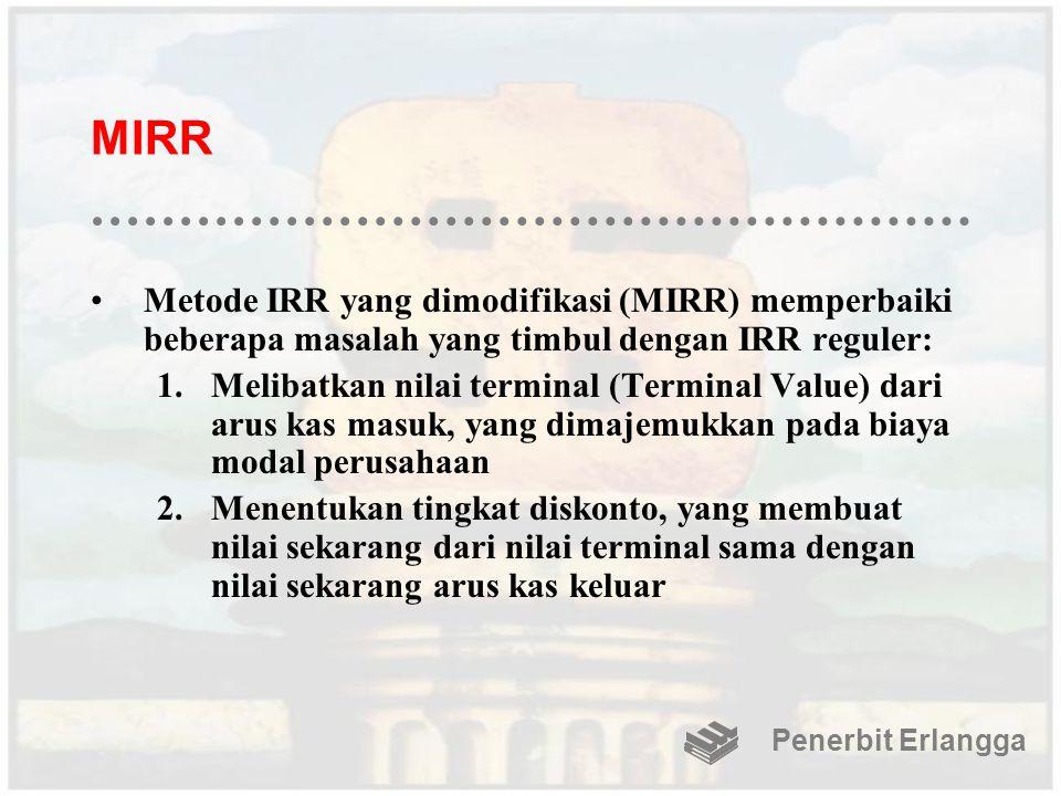MIRR Metode IRR yang dimodifikasi (MIRR) memperbaiki beberapa masalah yang timbul dengan IRR reguler: