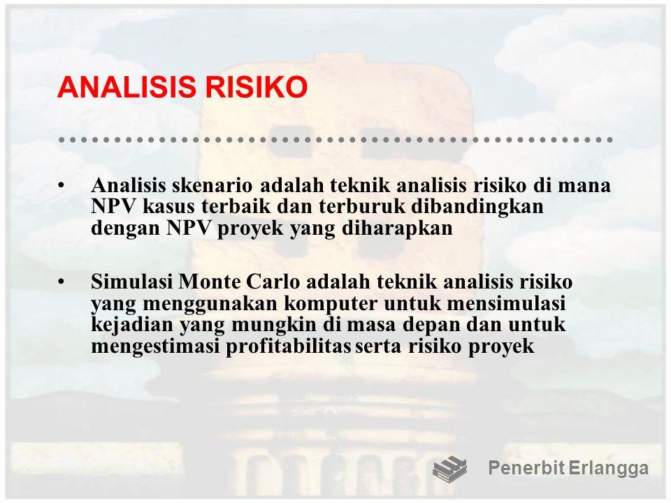 ANALISIS RISIKO Analisis skenario adalah teknik analisis risiko di mana NPV kasus terbaik dan terburuk dibandingkan dengan NPV proyek yang diharapkan.