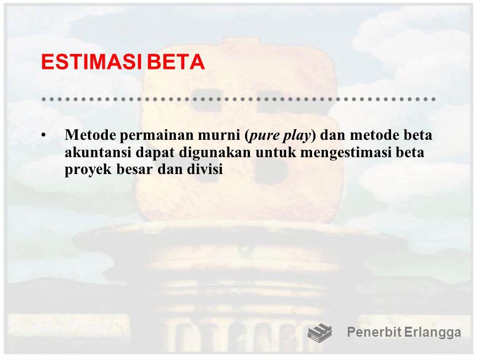 ESTIMASI BETA Metode permainan murni (pure play) dan metode beta akuntansi dapat digunakan untuk mengestimasi beta proyek besar dan divisi.