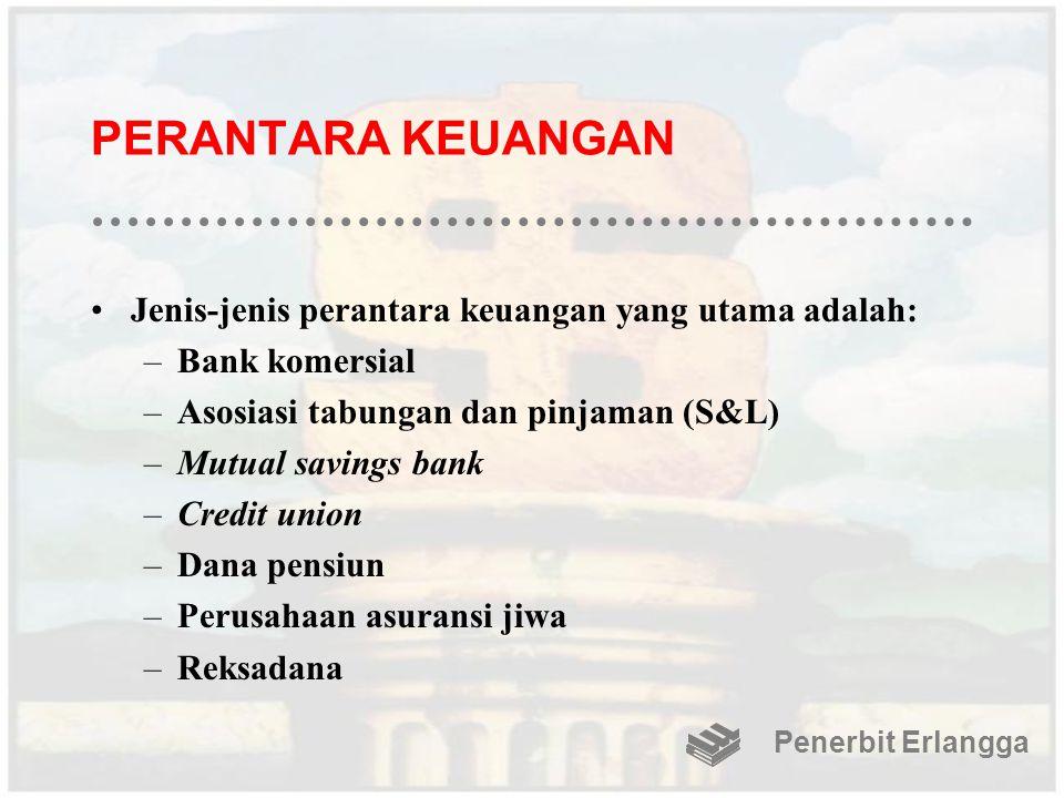 PERANTARA KEUANGAN Jenis-jenis perantara keuangan yang utama adalah: