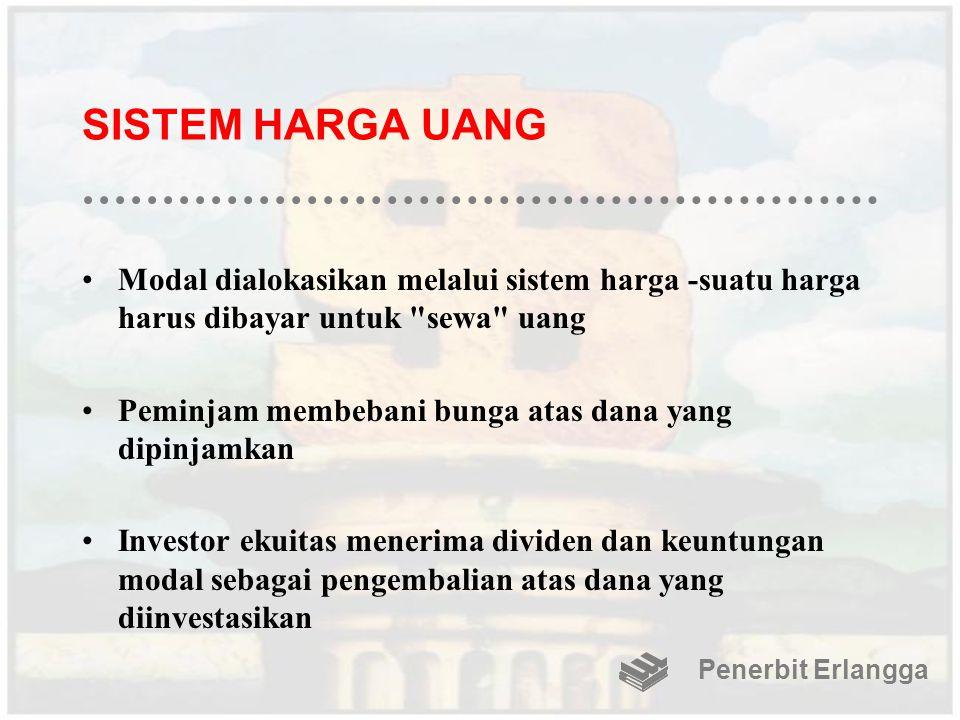 SISTEM HARGA UANG Modal dialokasikan melalui sistem harga -suatu harga harus dibayar untuk sewa uang.
