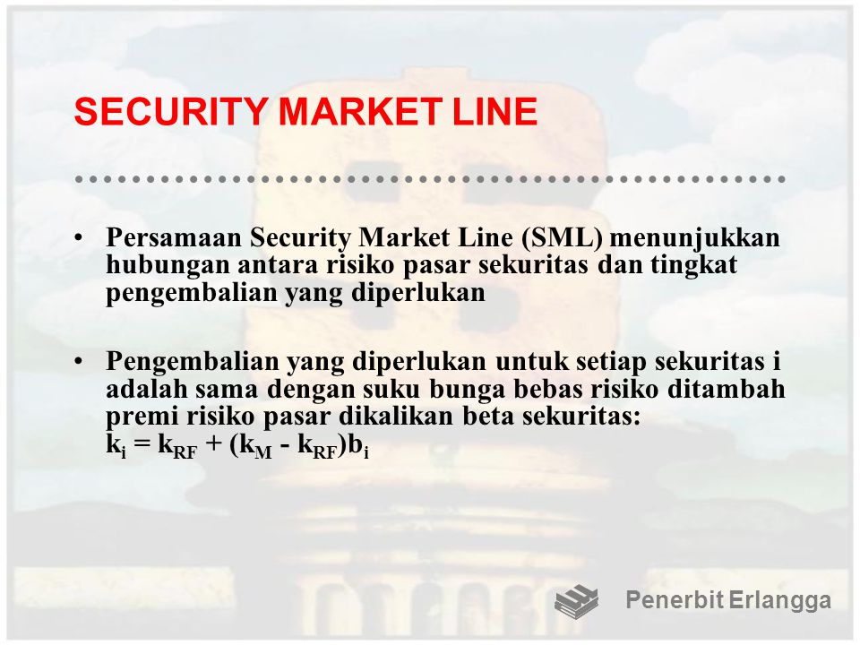 SECURITY MARKET LINE Persamaan Security Market Line (SML) menunjukkan hubungan antara risiko pasar sekuritas dan tingkat pengembalian yang diperlukan.