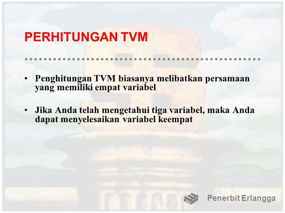 PERHITUNGAN TVM Penghitungan TVM biasanya melibatkan persamaan yang memiliki empat variabel.