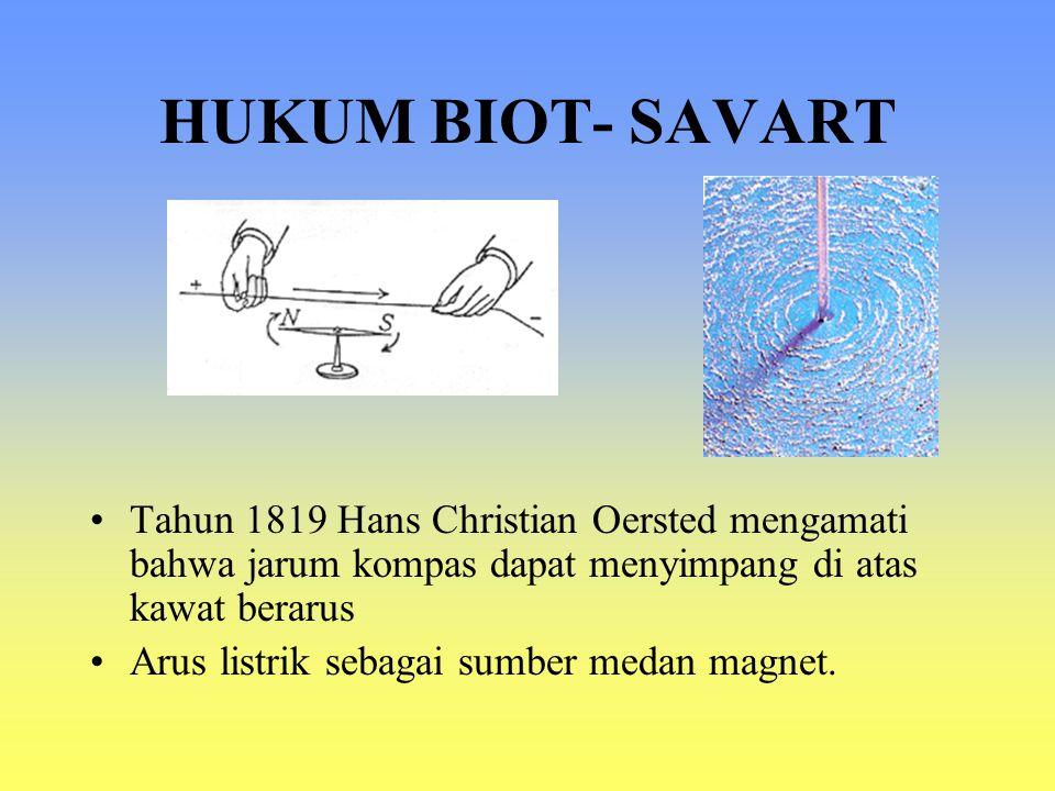 HUKUM BIOT- SAVART Tahun 1819 Hans Christian Oersted mengamati bahwa jarum kompas dapat menyimpang di atas kawat berarus.