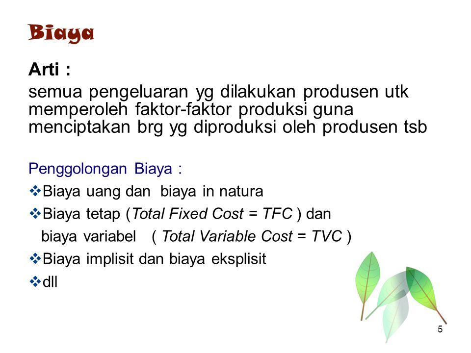 Biaya Arti : semua pengeluaran yg dilakukan produsen utk memperoleh faktor-faktor produksi guna menciptakan brg yg diproduksi oleh produsen tsb.