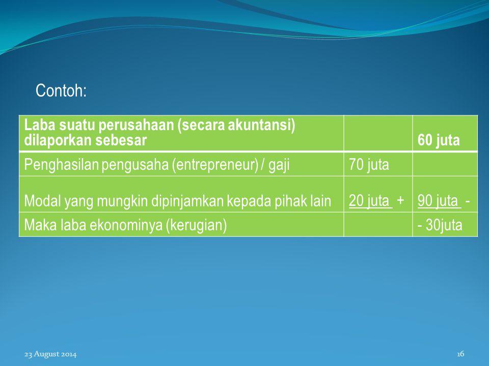 Contoh: Laba suatu perusahaan (secara akuntansi) dilaporkan sebesar