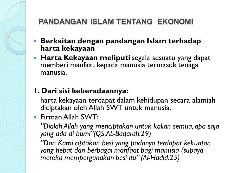 PANDANGAN ISLAM TENTANG EKONOMI
