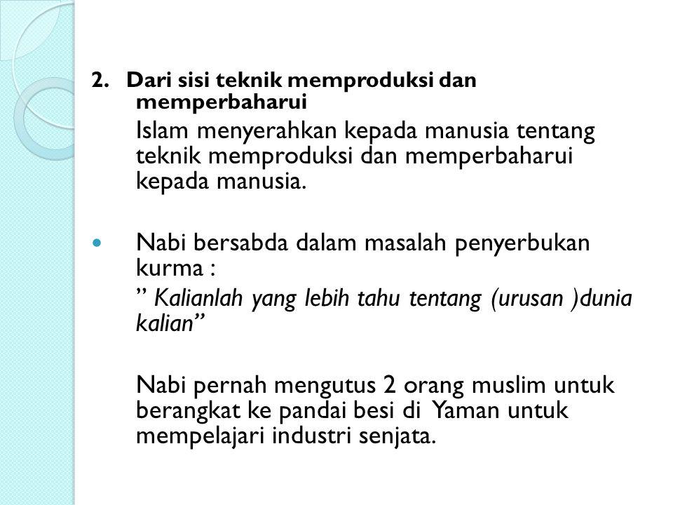 Nabi bersabda dalam masalah penyerbukan kurma :