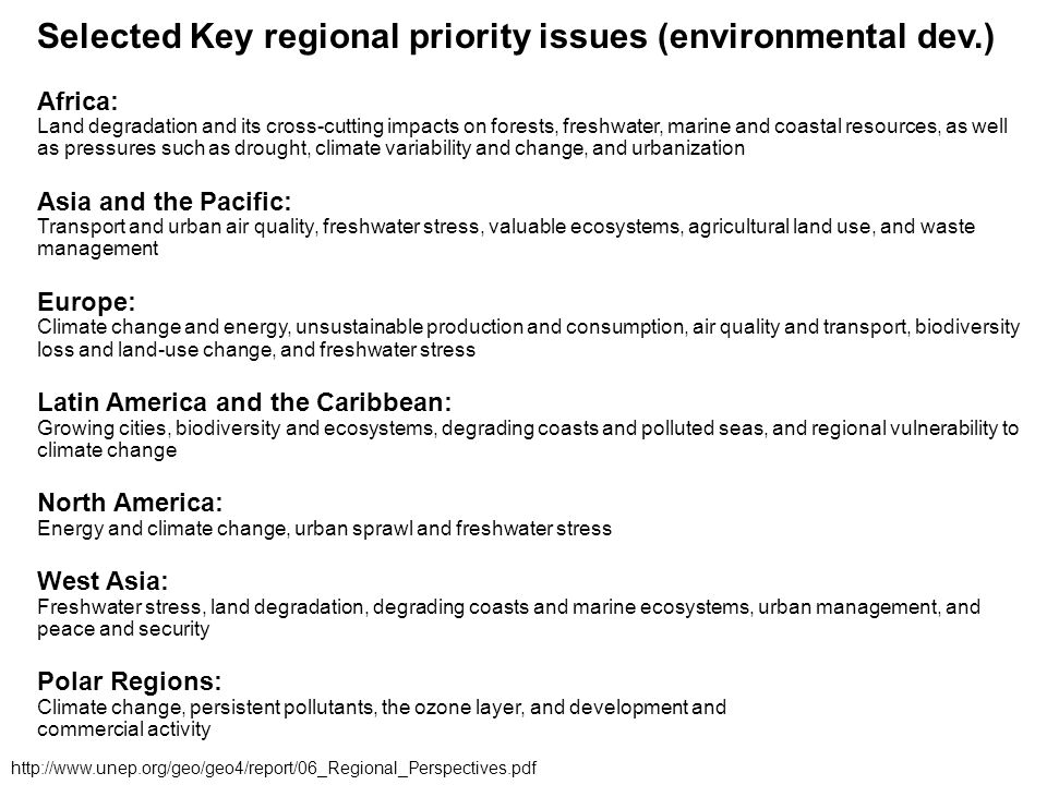 Selected Key regional priority issues (environmental dev.)