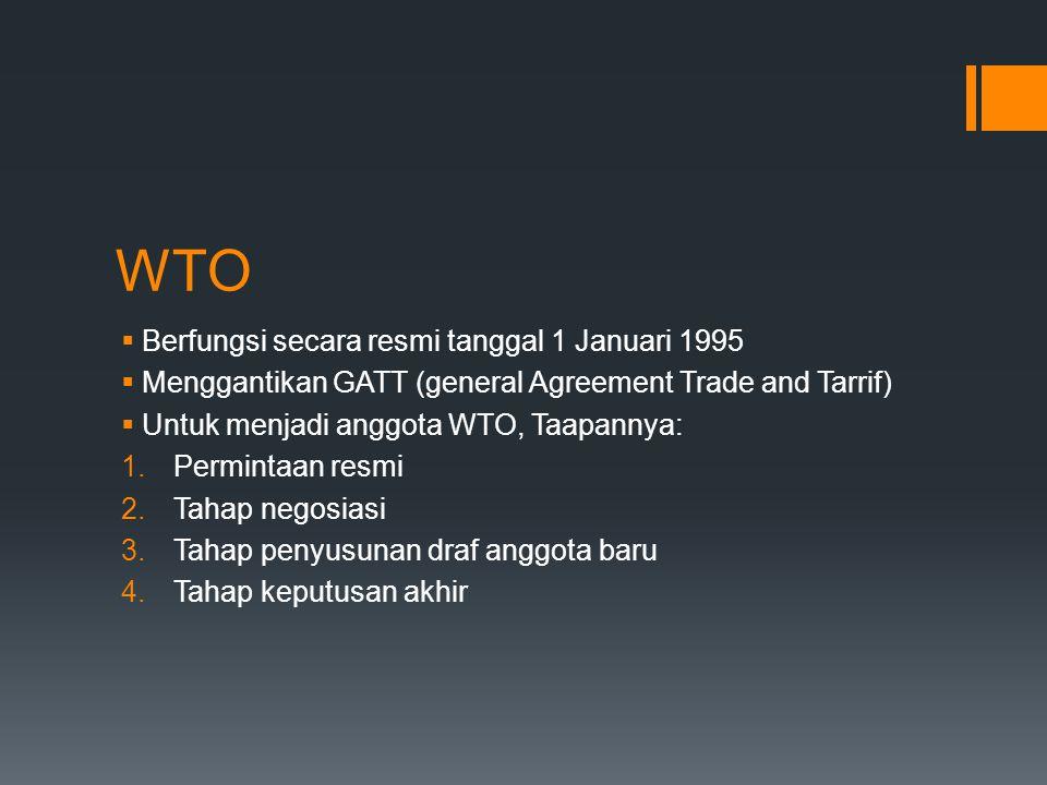 WTO Berfungsi secara resmi tanggal 1 Januari 1995